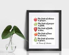 Mother Teresa Quote Print Fruit of silence prayer faith   Etsy Saint Teresa Of Calcutta, Saints, Mother Teresa Quotes, Saint Quotes, Color Calibration, Keep In Mind, Quote Prints, Printing Process, Catholic