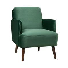 Fauteuil rétro velours vert forêt Brooks #velours #fauteuil #livingroom #velvet