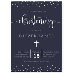 Navy Christening Invitation | Forever Your Prints
