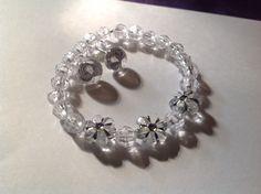 Matching handmade post earrings and bracelet for the littles