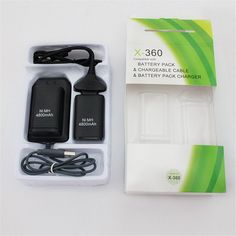 2 Batteries+1 Charger+1 USB Cable For Xbox 360 Wireless Controller Black Rechargeable 4800mah Ni-MH Battery Pack