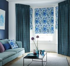 Create interest with a tonal colour palette that mixes in a variety of prints and textures. Here we've teamed velvet curtains with a floral Roman blind Velvet Curtains, Drapes Curtains, Curtains And Blinds Together, Vivid Colors, Colours, Roman Blinds, Living Room Inspiration, Color Combinations, Palette