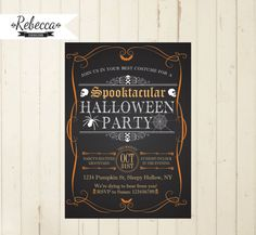 halloween invitation printable halloween invite chalkboard halloween orange and black invitation diy halloween spider skulls skeletons adult by RebeccaDesigns22, $11.99