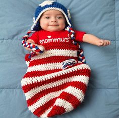 This is an amazing idea of crocheting with the patriotic baby cocoon pattern when the newborn is coming in the month of Independence Day; it is an amazing costume for the special day. For details of this American flag design crochet, you can visit the link for pattern details.