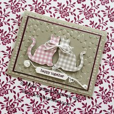 When gingham cats get tangled in baker's twine, they have to be on the front of an Anniversary card! My Cat Punch found this Sweet Sugarplum and Sahara Sand gingham in the Succulent Gardens Designer Series Paper. Notice, I'm not taking any responsibility for this. They insisted on being tied together, and chose the …