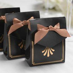 Art Deco Tent Favor Boxes - Gold - 25 pcs - Colored Wedding Favor Boxes - Favor Boxes - Favor Packaging - Wedding Favors & Party Supplies - Favors and Flowers