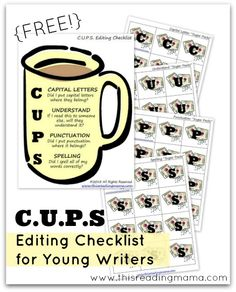 FREE Editing Checklist for Young Writers ~ C for Capital Letters ~ U for Understand ~ P for Punctuation ~ S for Spelling | This Reading Mama