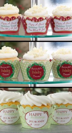 """LOVE these personalized Cupcake Wrappers from PersonalizationMall! The top design is so cute - it says, """"Enjoy a Sweet Holiday Treat from _____"""" ... cute way to pass out personalized Christmas treats!"""