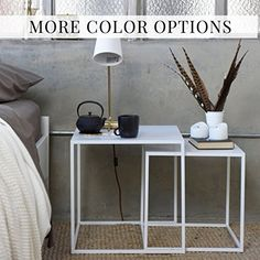 white welded steel side table end table
