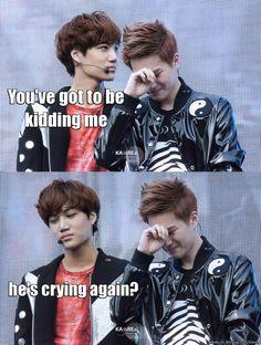 The struggles of Kai... I love how he is pretending not to see it haha | EXO Suho & Kai