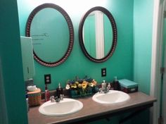 Interior:Exciting And Refreshing Turquoise Bathroom Decor With Accessories With Twin Mirror And Sink Exciting and Refreshing Turquoise Bathroom Decor with Accessories