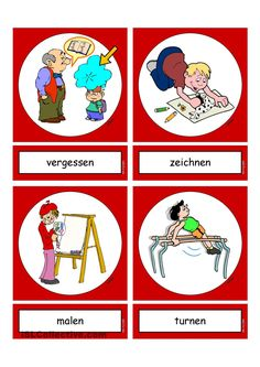 Flashcards_Verben_In der Schule_1_mittel German Grammar, German Words, German Language Learning, English Language, Deutsch Language, Perfect Resume, Learn German, Foreign Languages, Preschool