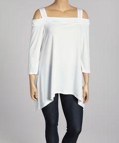Come N See White Cutout Sidetail Tunic - Plus by Come N See #zulily #zulilyfinds
