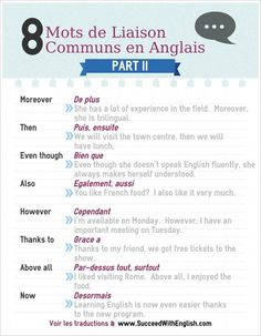 eight mots de liaison communs en anglais half II – www. French Phrases, French Words, English Words, French Quotes, English Tips, English Study, Learn English, Speak English Fluently, English Vocabulary