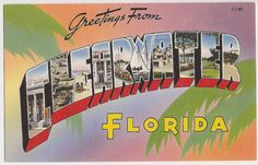Greetings from Clearwater, Florida, large letter style vintage postcard