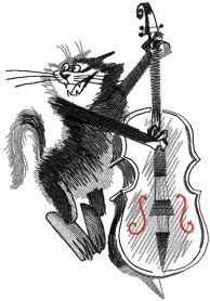 Cat with contrabass free embroidery design. Machine embroidery design. www.embroideres.com