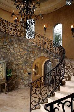 Rustic charm in a stone-clad staircase www.findinghomesinlasvegas.com Keller Williams Las Vegas & Henderson, NV