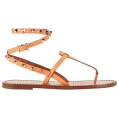 Valentino Rockstud Ankle Wrap Strap Flat Sandal: Melon Sorbet (57,770 INR) ❤ liked on Polyvore featuring shoes, sandals, flats, coral, embellished sandals, ankle strap flats, strap sandals, ankle wrap sandals and coral sandals