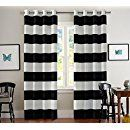 Amazon.com: Turquoize Nautical Blackout Curtains(2 PANELS), Room Darkning, Grommet Top, Light Blocking Curtains, 52W by 84L Inch, Wave Stripes Pattern, Black & White, Sold by Pair: Home & Kitchen