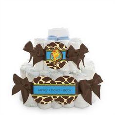 Giraffe Boy - 2 Tier Personalized Square - Baby Shower Diaper Cake