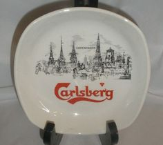 Carlsberg Beer Ashtray Dish Copenhagen Burleigh Ware Great Britain 5 Square $24.95