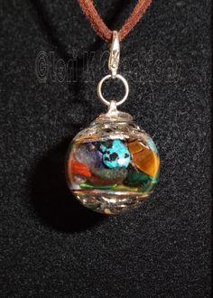 Handmade Double Silver Tree of Life Mixed Natural Gemstones Resin Sphere Pendant - pinned by pin4etsy.com