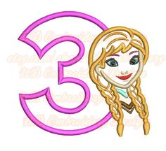 Cold Girl Face  rd Birthday Embroidery Applique