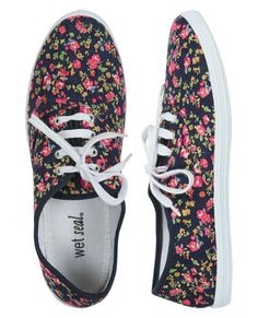 Ditsy Floral Tennis Shoe - Flats how cute would these be with a black dress possibly with lace