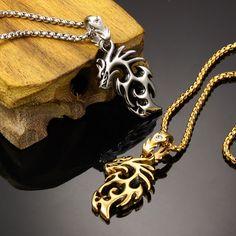 Silver Gold Dragon Necklace //Price: $19.79 & FREE Shipping //     #skull #skullinspiration #skullobsession #skulls