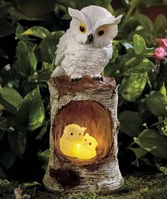 White solar owl family statue garden yard lawn art porch deck outdoor home decor