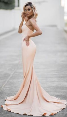 #Street #Fashion | Nude Strapless Gown | Micah Gianneli