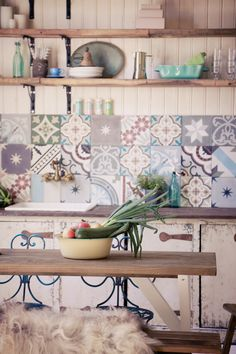 Mixed handmade tiles