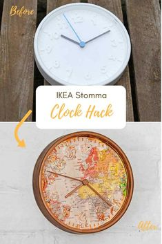 This is a fun and stylish IKEA clock hack. Using the ridiculously cheap IKEA Stomma clock, a world map, and some temporary tattoo paper. #ikeahack #clock #maps Ikea Clock, Diy Clock, Clock Art, Eco Furniture, Ikea Furniture Hacks, Furniture Dolly, Furniture Movers, Classic Furniture, Furniture Stores
