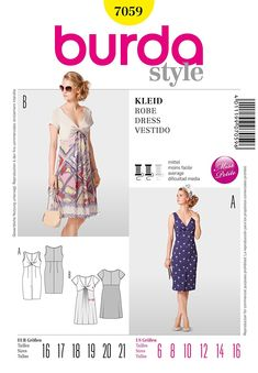 Burda Style Dress Exclusive summer dress with nice décolleté and twisted bodice. The skirt is either narrow with walking pleat to one side or flared and with front laid in small pleats. Burda Sewing Patterns, Simplicity Sewing Patterns, Clothing Patterns, Sewing Summer Dresses, Summer Dresses For Women, Diy Fashion, Fashion Dresses, Vestido Dress, Dress Making Patterns