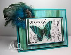Merci with feathers by eliotstamps - Cards and Paper Crafts at Splitcoaststampers