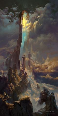 Peter Mohrbacher is an artist working on a fantasy project called Angelarium - The art and themes are beautiful but scary, leaving you with a feeling of wonder. This piece is named 'The Gate of Sahaqiel' - Fantasy - Art Fantasy Places, Fantasy World, Fantasy Artwork, Digital Art Fantasy, Space Fantasy, Fantasy Concept Art, Fantasy Setting, Fantasy Kunst, Inspirational Artwork