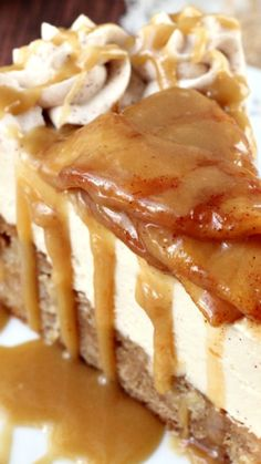 Caramel Apple Blondie Cheesecake ~ apple spice blondie with no bake caramel cheesecake, topped with cinnamon apples and caramel sauce
