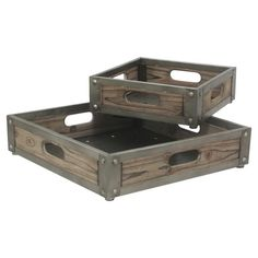 Serve cocktails to your guests or arrange a display of candles with these wood nesting trays, showcasing metal industrial-inspired edges and a gently weather...