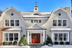 gambrel roof exterior farmhouse with eyebrow window vertical house . Dutch Colonial Exterior, Dutch Colonial Homes, Attic Renovation, Attic Remodel, Gambrel Roof, Attic House, Attic Floor, Beach Cottage Style, Nantucket Style Homes
