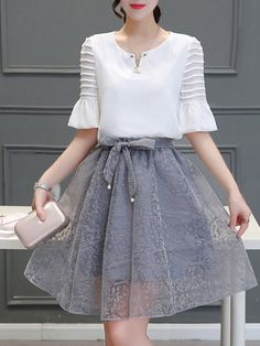 Shop Elegant Dresses - Light Gray Two Piece Floral Frill Sleeve Elegant Dress online. Discover unique designers fashion at PopJuLia.com.