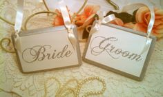 Wedding Signs GLITTER Silver Wedding Decor Bride by HickoryandLace