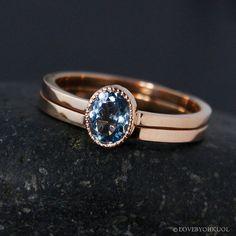 Aquamarine Engagement and Wedding Ring Set – 10K White, Rose or Yellow Gold