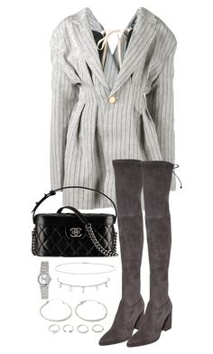 """""""Untitled #4899"""" by theeuropeancloset on Polyvore featuring Jacquemus, Stuart Weitzman, Chanel, Suzanne Kalan, Casio and Forever 21"""