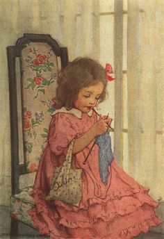 Little girl knitting by Jessie Willcox (1920)