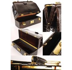 Vintage Hermes Shiny Crocodile Porosus Sac Mallette Steele Trunk Case
