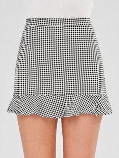 Short Gingham Ruffled Skirt - Multi L Girly Outfits, Skirt Outfits, Cute Outfits, Gingham Skirt, Ruffle Skirt, Short Skirts, Mini Skirts, Skirt Fashion, Fashion Outfits