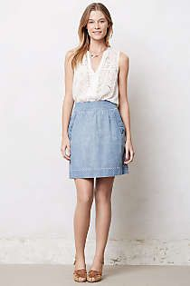Anthropologie - Holding Horses Denim A-Line Skirt