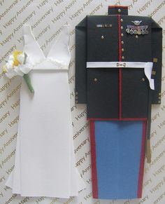 Origami Paper Wedding Dress & United States Marines Uniform by emtysoe, via Flickr Origami 2d, Origami Dress, Origami Paper, Marines Uniform, Bachelor Pad Decor, Mini Store, Wedding Paper, Happy Anniversary, Happily Ever After