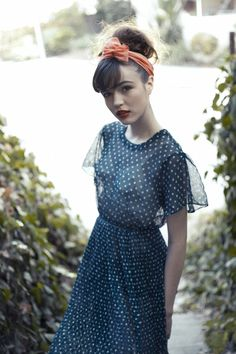 I love the turban. And flowy polka dot dresses are always a good thing.