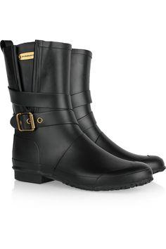 Burberry|Buckled Wellington calf boots|NET-A-PORTER.COM